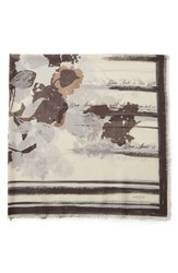 Lafayette 148 New York Print Wool And Silk Scarf Shale Multi