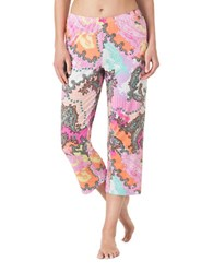 Ellen Tracy Jersey Cropped Pajama Pants Floral