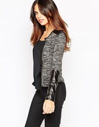 Wal G Cardigan With Pu And Zip Details Black