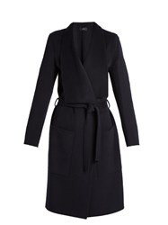 Joseph New Live Wool And Cashmere Blend Coat Navy