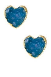 Saachi Blue Heart Druzy Stud Earrings