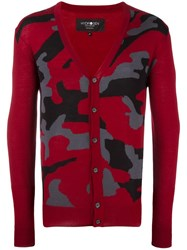 Hydrogen Camouflage V Neck Cardigan Red