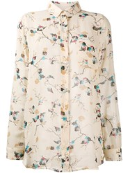 Ganni Biscotti Leaves Print Blouse Nude And Neutrals