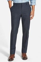 Men's Wallin And Bros. Flat Front Solid Cotton Blend Trousers Indigo