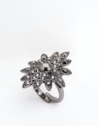 Pilgrim Jewel Burst Adjustable Ring Hematiteplatedgrey
