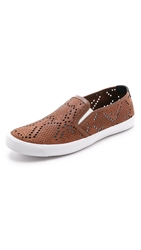 Just Cavalli Punched Leather Slip On Shoes Brown Burnt