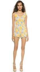 For Love And Lemons Aloha Romper Bird Of Paradise Gold