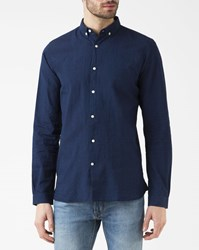 Knowledge Cotton Apparel Navy Blue Slim Fit Shirt