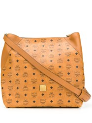 Mcm All Over Logo Tote Brown
