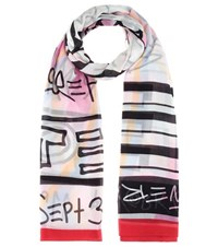 Kenzo Printed Cotton Scarf Multicoloured
