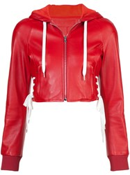 Red Valentino Cropped Hooded Jacket Red