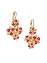 Temple St. Clair Cluster Trio Ruby Earrings Yellow Gold