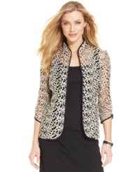 Alex Evenings Three Quarter Sleeve Metallic Embroidered Jacket And Shell