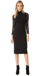Alice Olivia Kala Turtleneck Lace Sleeve Dress Black
