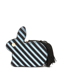 Hillier Bartley Bunny Striped Leather And Suede Clutch Black Blue