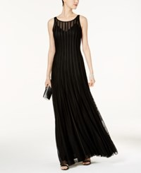 Betsy And Adam Mesh Satin Illusion Stripe Gown Black