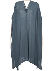 Caravana Ruched Shoulder Kaftan Dress Cotton Leather Blue