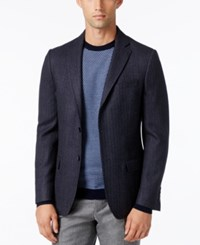 Dkny Men's Slim Fit Herringbone Sport Coat Blue