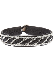 Ulla Soucasse Woven Leather And Chain Bracelet Black