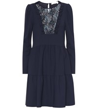See By Chloe Floral Lace Bib Dress Blue