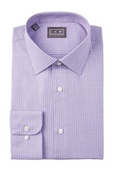 Ike Behar Oxford Check Full Fit Dress Shirt Purple