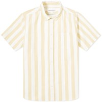 Norse Projects Short Sleeve Theo Wide Stripe Oxford Shirt Yellow