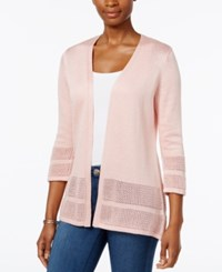 Jm Collection Open Knit Cardigan Only At Macy's Silver Pink