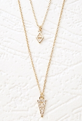 Forever 21 Rhinestone Triangle Charm Necklace Gold Clear