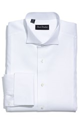 David Donahue Men's Big And Tall Regular Fit Bib Front French Cuff Tuxedo Shirt White