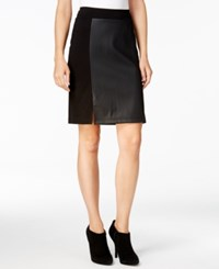 Kensie Faux Leather Ponte Skirt Black