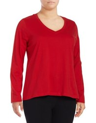 Lord And Taylor V Neck Cotton Tee Crimson