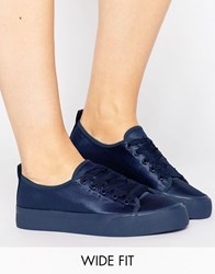 Asos Darling Wide Fit Satin Trainers Navy Satin
