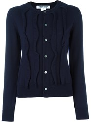 Comme Des Garcons Ruffled Cardigan Blue