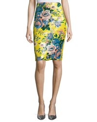 Diane Von Furstenberg Tailored Floral Print Pencil Skirt Multi