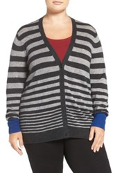 Sejour Wool And Cashmere V Neck Cardigan Plus Size Gray