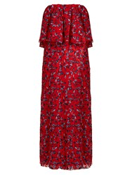 Osman Clover Floral Embroidered Strapless Tulle Gown Red Multi