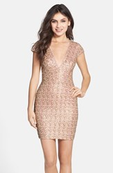 Women's Dress The Population 'Zoe' Sequin V Neck Body Con Dress Opalescent