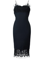 Victoria Beckham Lace Trimmed Fitted Dress Blue