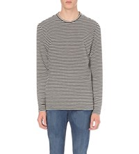 The Kooples Striped Cotton Jersey Top Black