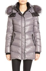 Badgley Mischka 'Maggie' Down Coat With Genuine Fox Fur Trim Light Gray