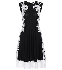 Oscar De La Renta Knitted Merino Wool Dress With Lace Black