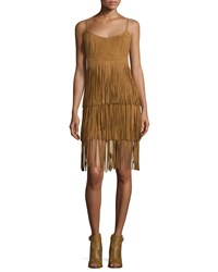 Lamarque Sleeveless Tiered Fringe Suede Dress Tan