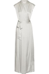 Maison Martin Margiela Satin Jacquard Wrap Maxi Dress Silver
