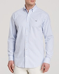 Vineyard Vines Whale Tattersall Button Down Shirt Classic Fit Light Blue