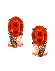 Levian 14Kt. Rose Gold Opal And Diamond Earrings Red Rose Gold