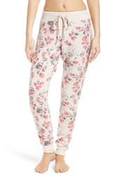 Make Model Women's Brushed Hacci Lounge Pants Pink Scallop Antique Roses