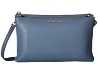 Michael Michael Kors Adele Double Zip Crossbody Denim Cross Body Handbags Blue