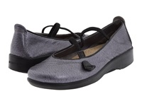 Arcopedico Vitoria Pewter Black Metal Crush Nappa Wax Women's Maryjane Shoes