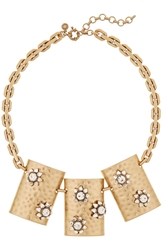 J.Crew Floral Shield Gold Plated Crystal Necklace