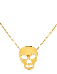 Lord And Taylor Sterling Silver 18K Gold Skull Pendant Necklace